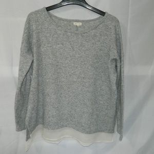 Silence + Noise Gray Sweater with Cream crepe trim